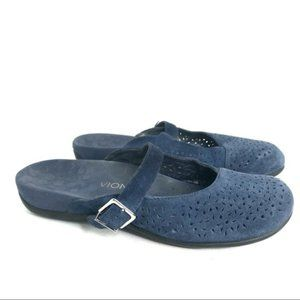 Vionic Lidia Mules in Blue Suede Leather Size 11